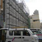 3階建て塗装工事用組立中